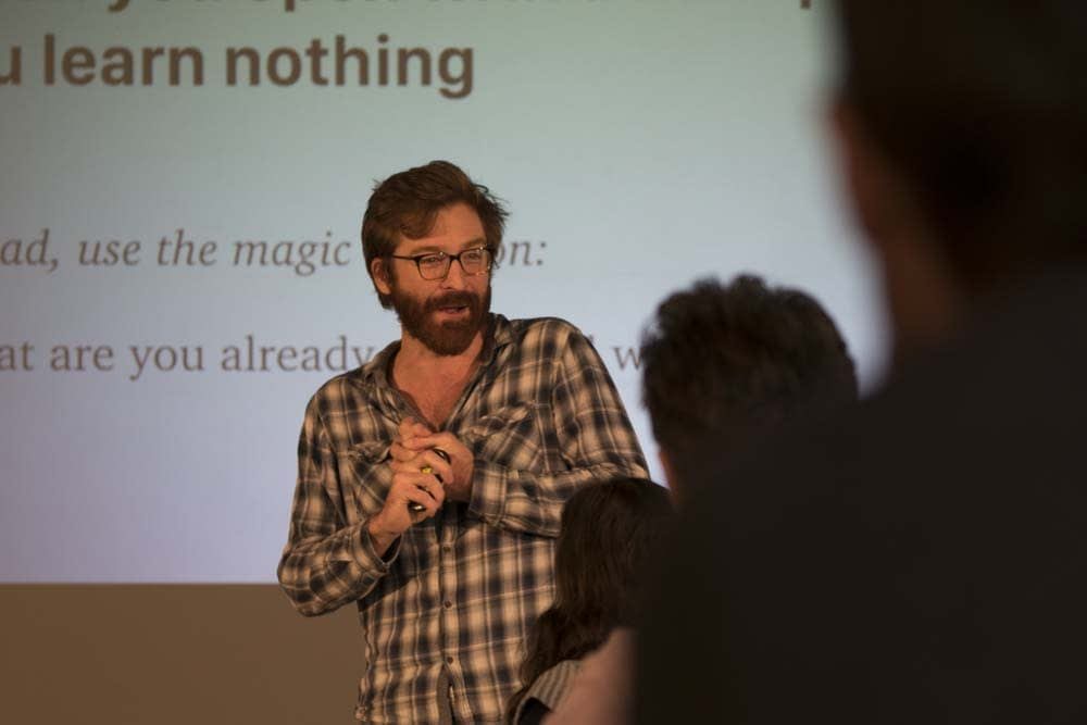 Rob Fitzpatrick of Founder Centric speaking at Tech North's Founders' Network