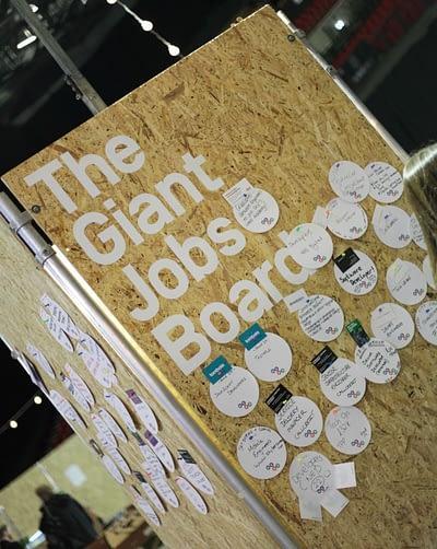 A job board at Herd's Leeds Digital Jobs Fair.
