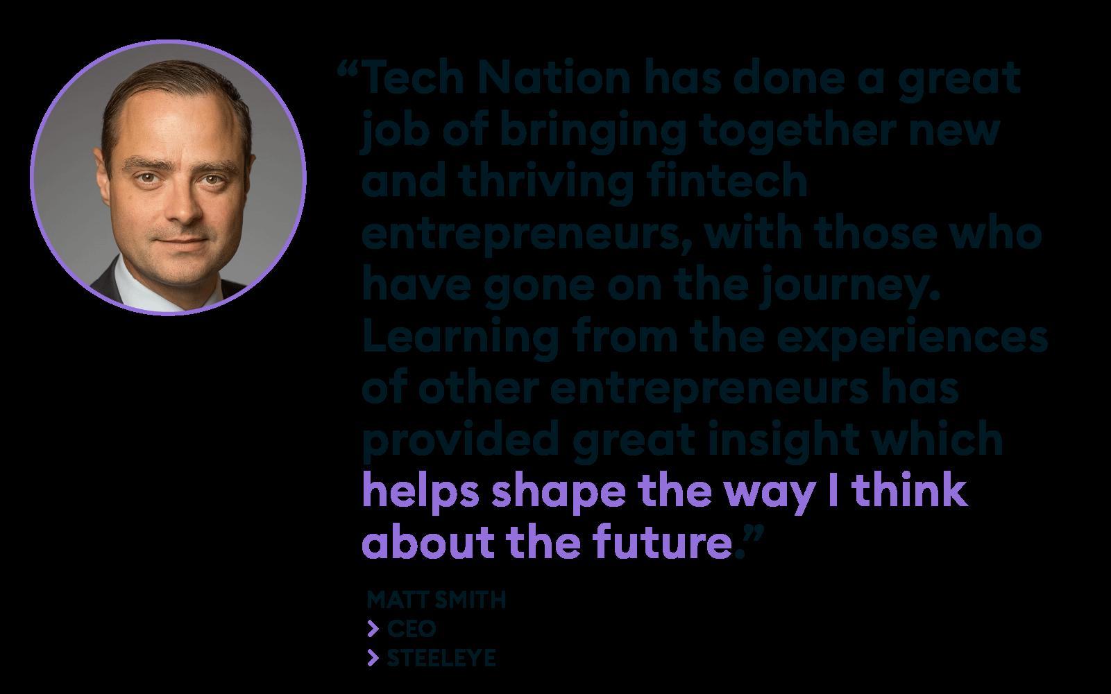 Matt Smith of SteelEye gives feedback on Tech Nation's Fintech programme